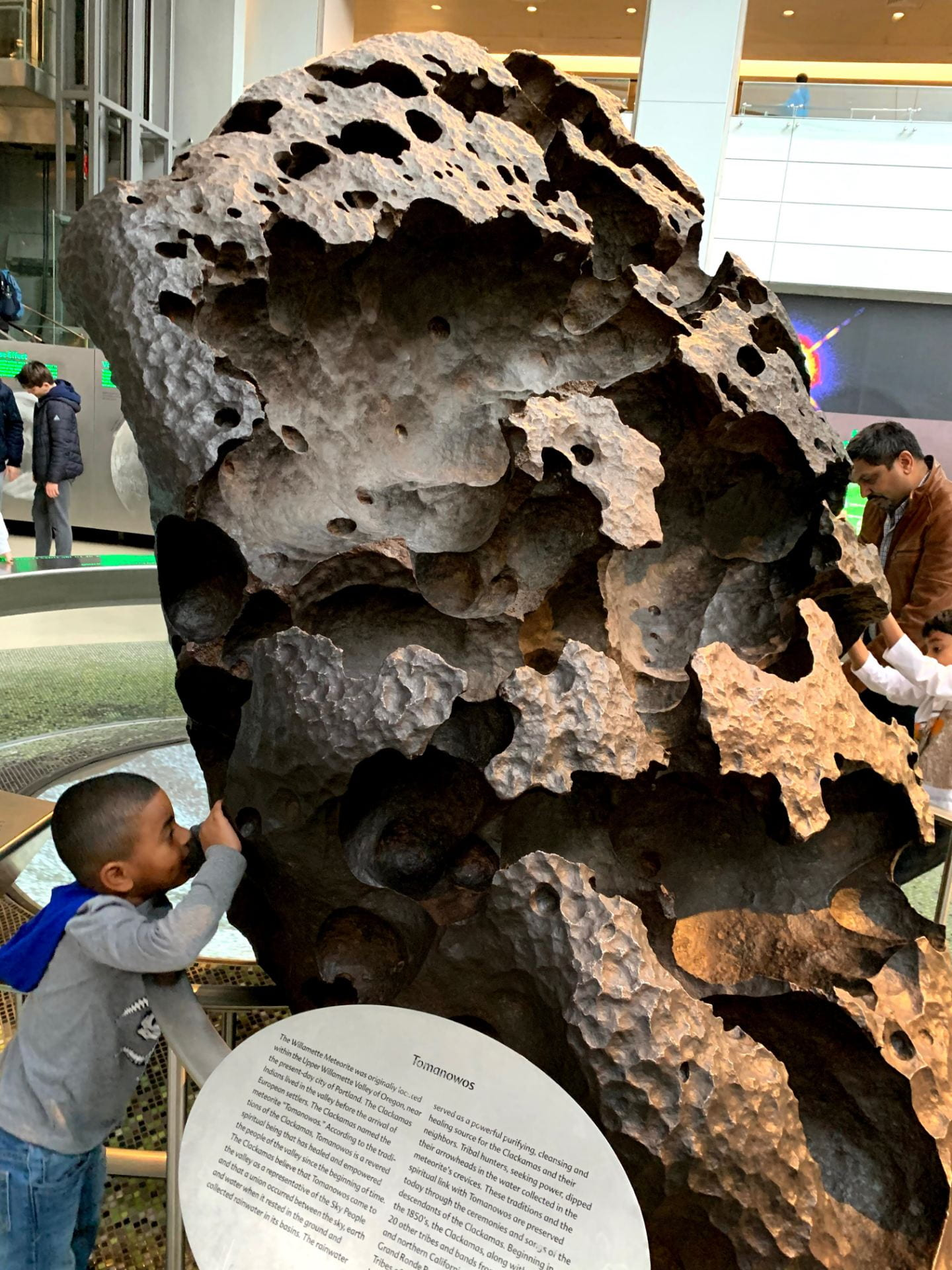 child looking at a large rock exhibit at the american museum of natural history