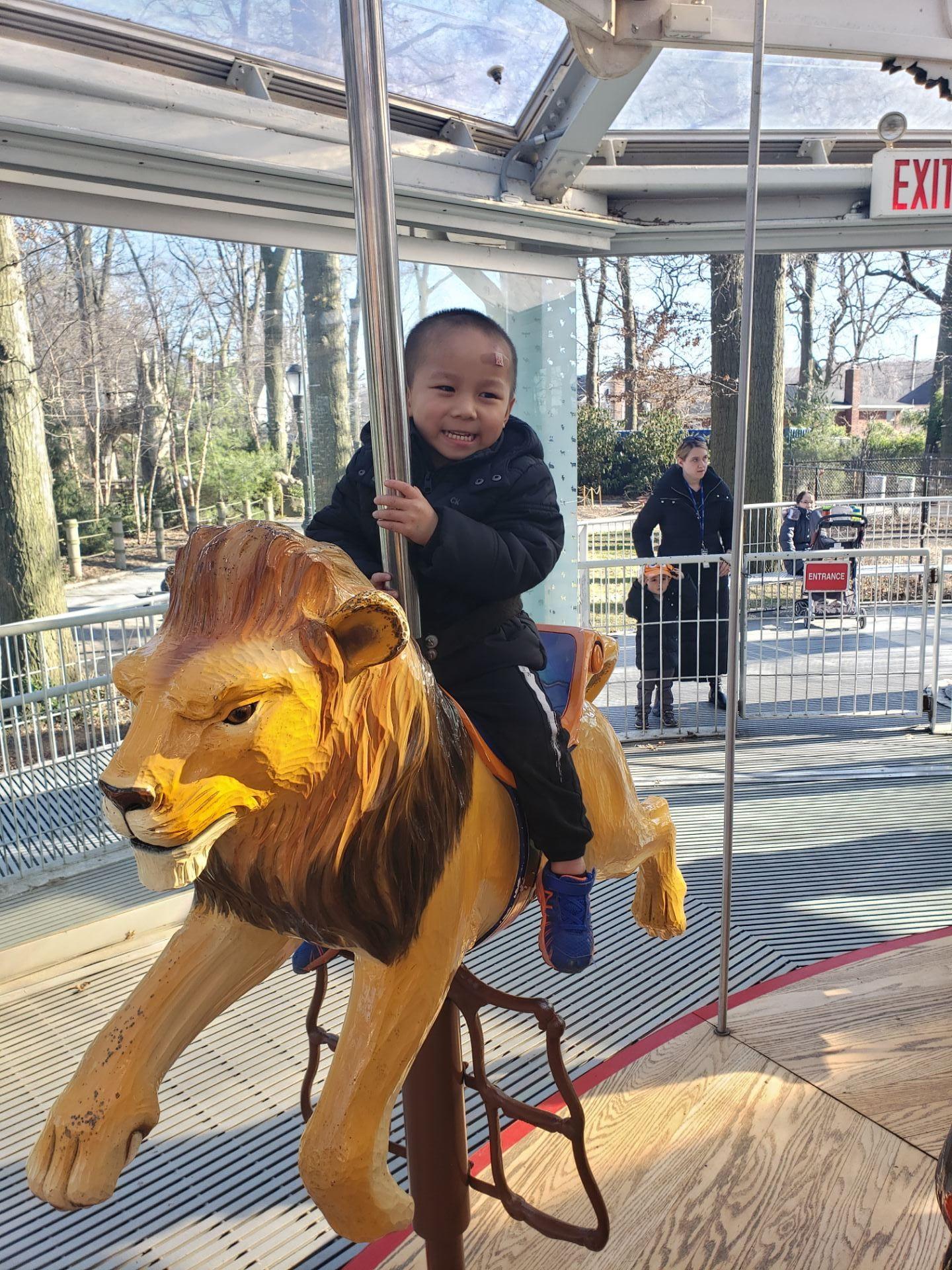 child on carousel