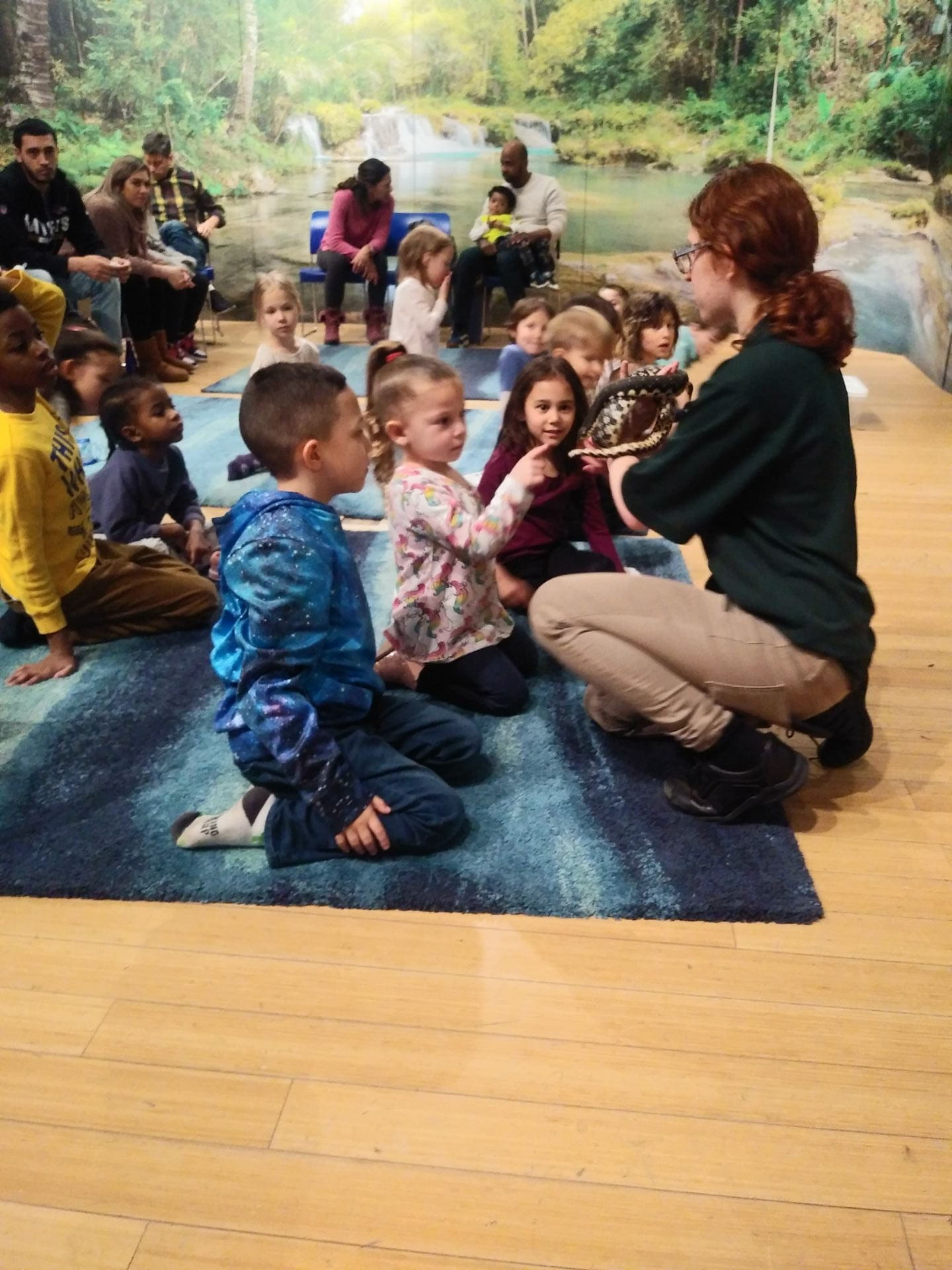 children observing a reptile at the children's museum