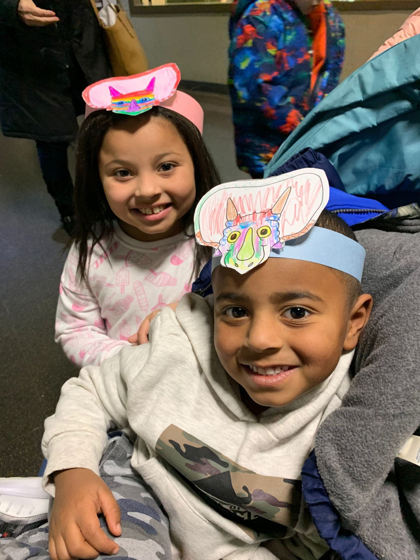 children wearing head bands at the children's museum